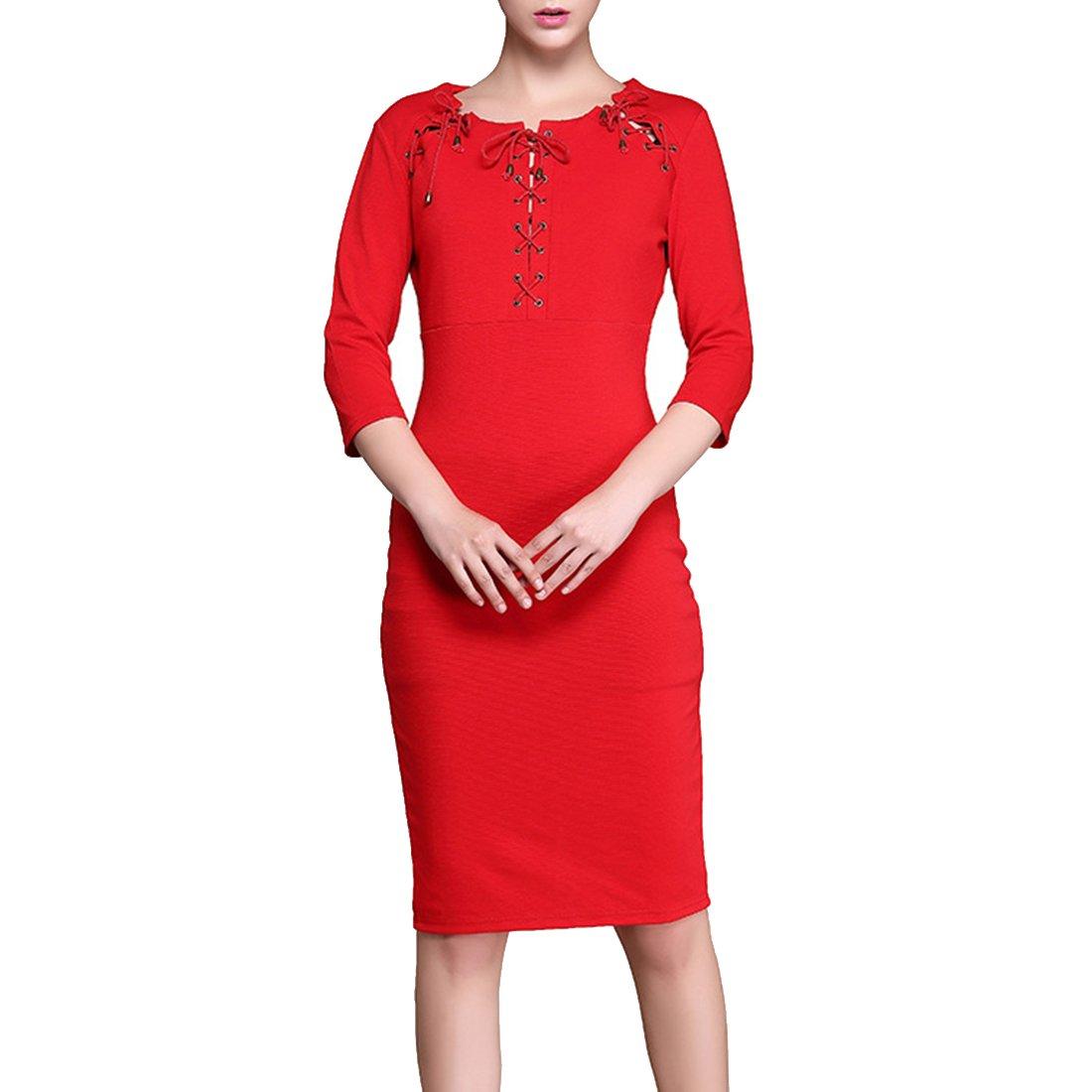 YOKIRIN Falda Roja Lápiz Negra Media Larga de Otoño para Mujer 3/4 ...