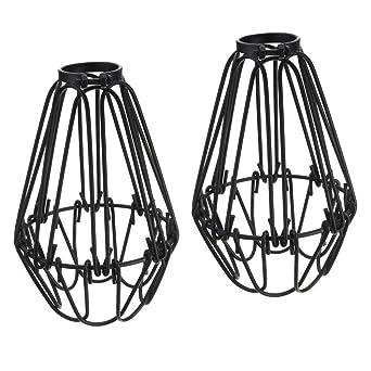 Juego de 2 piezas vintage industrial metal jaula para lámpara de ...