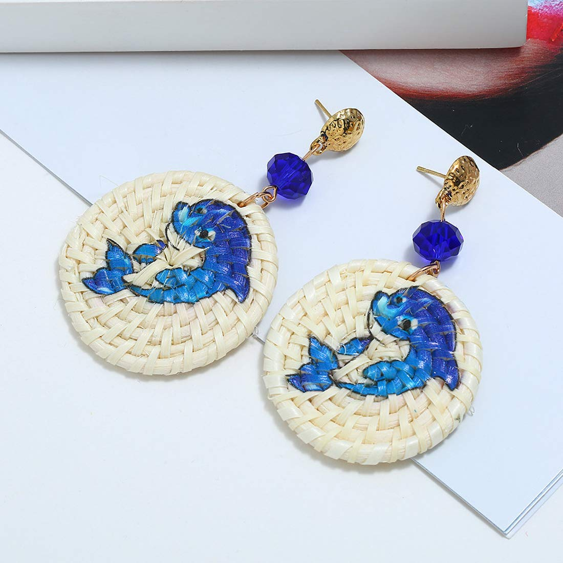 Cute animal image Handmade Bamboo Earrings Great Gifts for Women Girls JXVLUYE Charm Earring for Women Girls
