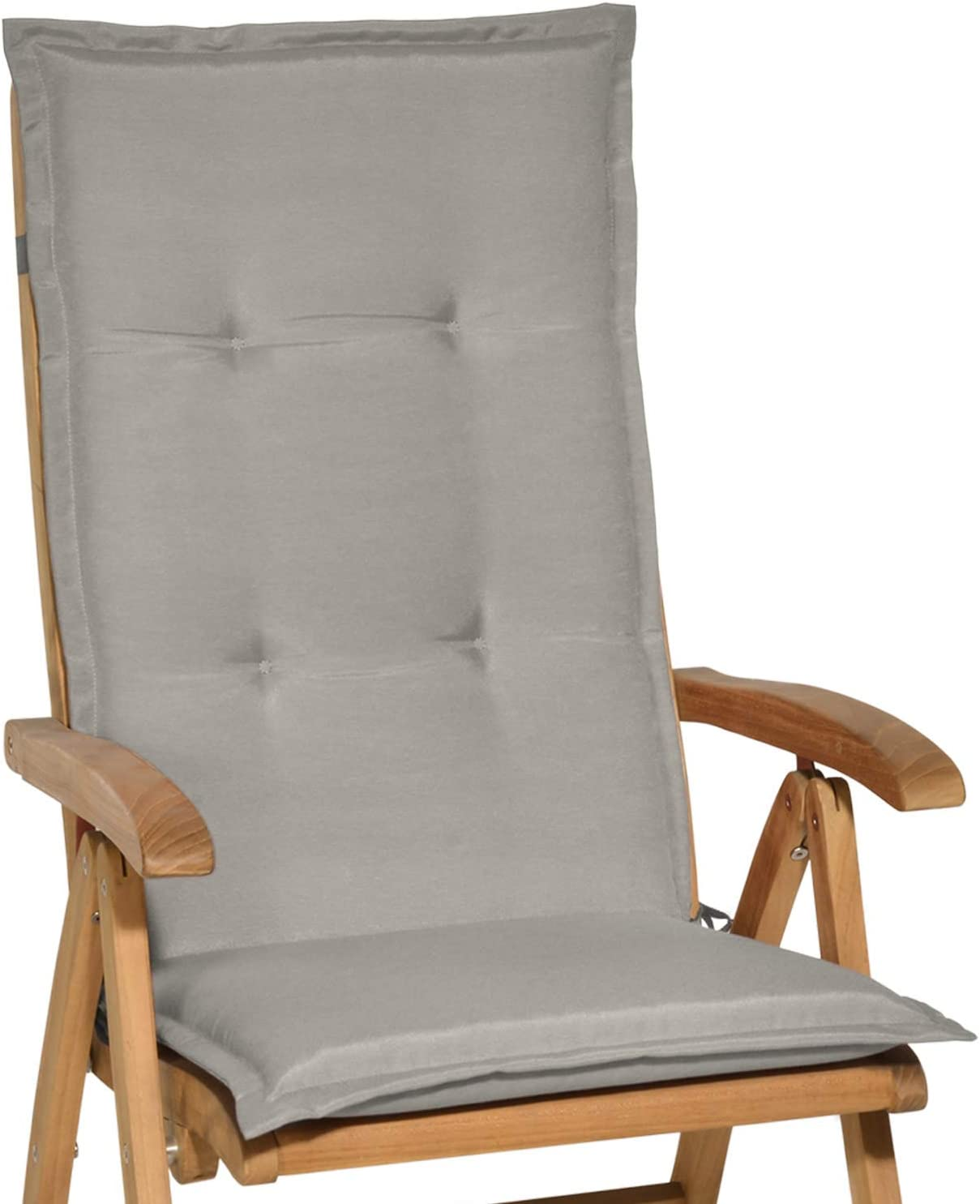 Beautissu Loft HL - Cojín para sillas de balcón o Asiento Exterior con Respaldo Alto - 120x50x6 cm - Placas compactas de gomaespuma - Gris Claro