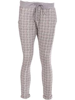 6d5e2519988 LavishFashionTown Stylish Italian Women Ladies Check Print Elastic Waist  Trouser Jogger UK Size 10-14