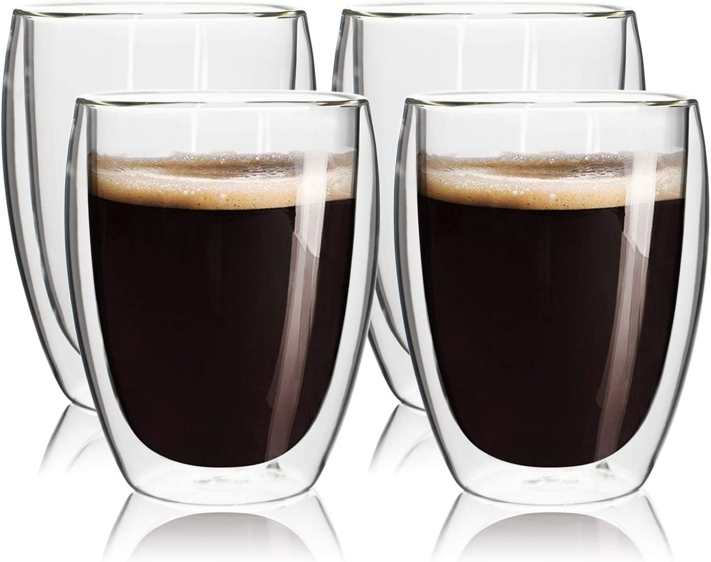Double Wall Insulated Glass Coffee Cups,12oz or 350ml,Set of 4,Glass Coffee Mug,Tea Cups,Glass Cups,Latte Cups,Beverage Glasses,Clear Wine Glasses,Heat Resistant,Dishwasher Safe