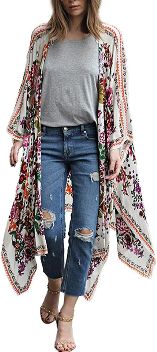 haoricu Women Cardigan M, Beige Summer Womens Floral Chiffon Kimono Cardigan Flare Sleeve Loose Blouse Beach Cover up