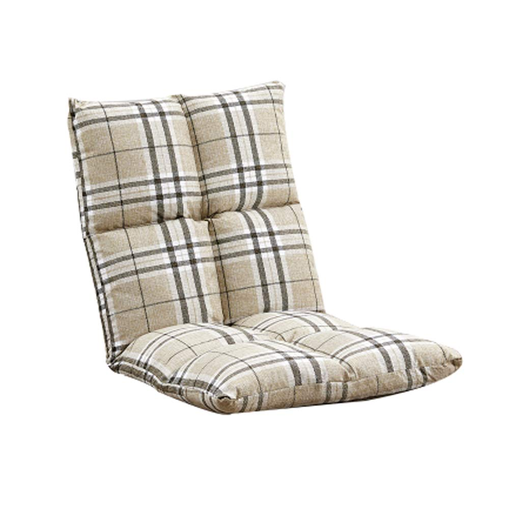 Plaid Floor Chair, Lazy Couch Chair Single Foldable Meditation Chair Bed Computer Chair Bedroom Bay Window Leisure Chair, Multi-color Optional (color   Brown)