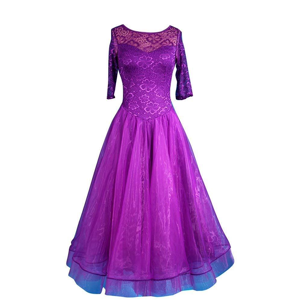 garuda 社交ダンスドレス モダンダンスウェア サイズ調整対応 レース紫色 B07P8RFMW3 パープル,XL