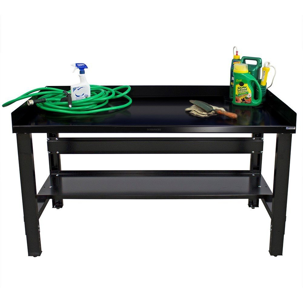 Borroughs 2018-WB132-EC Workbench with Shelf & Guards, 28 x 60 In, 2000 Pounds Load Capacity, 36'' Height, 28'' width, 60'' Length, black