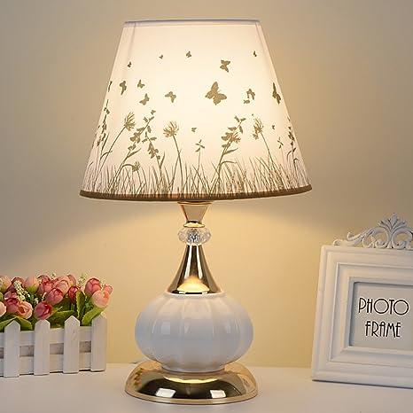 HM&DX Moderno Cerámica Lámpara de mesa dimmer,Estilo europeo Lámpara de mesita de noche Sombra de tela Decoración Iluminación de lámpara de ...