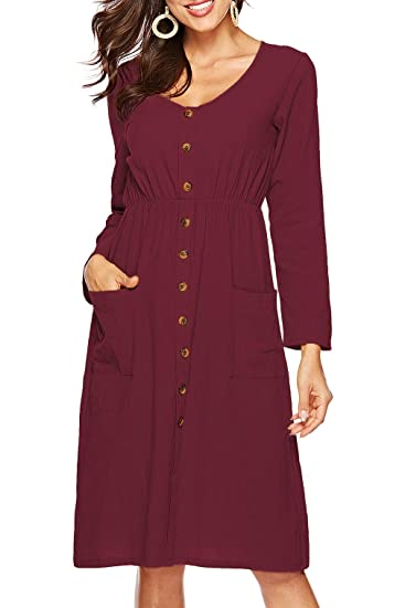 f7c6660711c Womens Dresses Long Sleeve V Neck Button Down Casual Skater Midi Dress with  Pockets Burgundy S