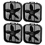 Lasko 3 Speed Save Smart 20 Inch Box Fan with Easy Carry Handle, Black (4 Pack)