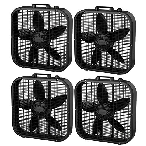 Lasko 3 Speed Save Smart 20 Inch Box Fan with Easy Carry Handle, Black (4 Pack) by Lasko