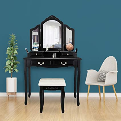 Bonnlo Black Vanity Set Makeup Vanity Table Set With 4 Drawers Tri Folding  Mirror Vanity