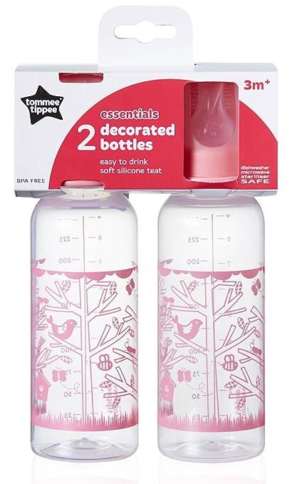 Tommee Tippee Esencial Fundamentos botellas de cuello estándar rosa rosa