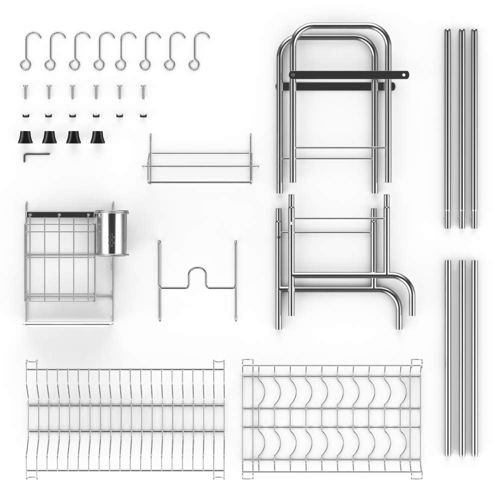 Over the Sink Dish Drying Rack, iSPECLE Large Premium 201 Stainless Steel Dish Rack with Utensil Holder Hooks for Kitchen Counter Non-slip by iSPECLE (Image #7)