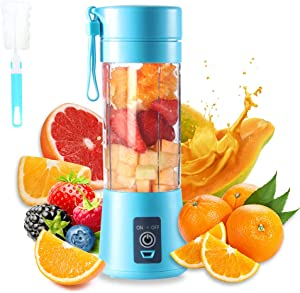 Portable Blender Cup,Electric USB Juicer Blender,Mini Blender Portable Blender For Shakes and Smoothies, juice,380ml, Six Blades for Great Mixing
