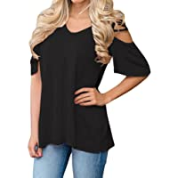 Halife Women's Summer T Shirts Casual Loose Hollow Out Shoulder Tops and Blouses