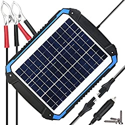 SUNER POWER 12V Solar Car Battery Charger & Maintainer - Portable 12W Solar Panel Trickle Charging Kit for Automotive, Motorcycle, Boat, Marine, RV, Trailer, Powersports, Snowmobile, etc.