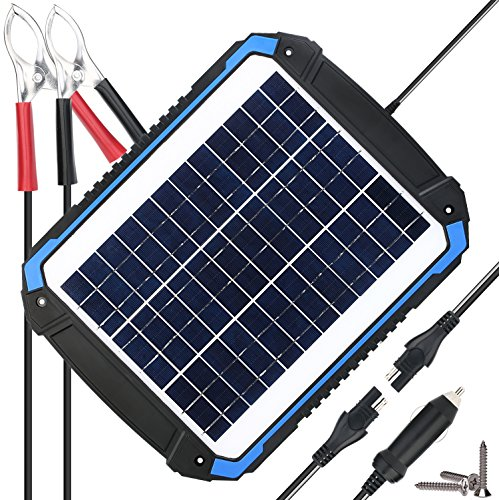 SUNER POWER 12V Solar Car Battery Charger & Maintainer - Portable 12W Solar Panel Trickle Charging Kit for Automotive, Motorcycle, Boat, Marine, RV, Trailer, Powersports, Snowmobile, etc. by SUNER POWER