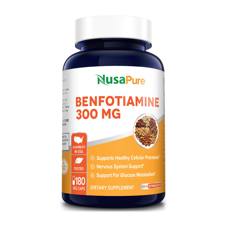 Benfotiamine 300mg 180 Veggie Caps ( Non-GMO,Vegan & Gluten-Free) Supports Healthy Blood Sugar Levels in Normal Range*