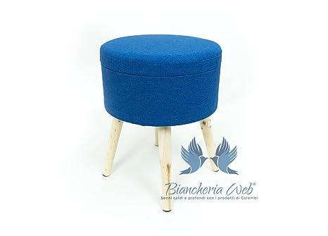 Sgabello rotondo con contenitore in tinta unita sgabello blu