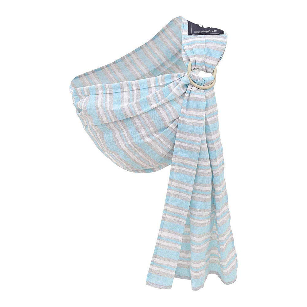 Kangaroobaby Baby Sling Wrap Carrier One Size Fits All Adjustable Pouch for Newborn to 33 Lbs Color Blue (blue stripe) Cuby