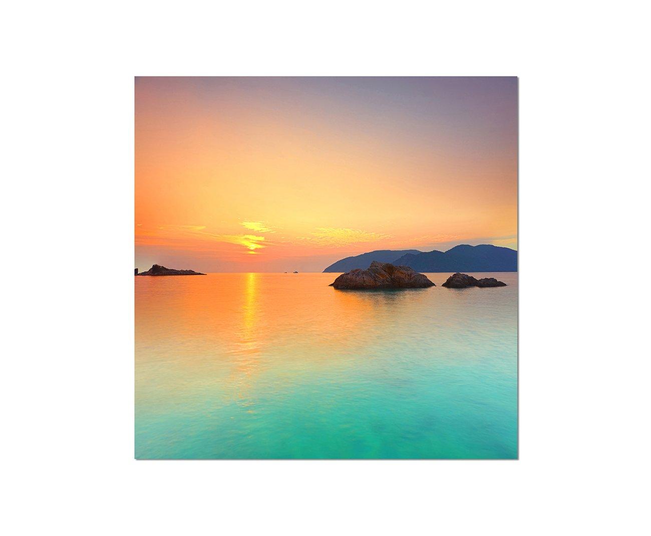 Bilder und Dekoration WANDBILD Sonnenuntergang See Con Dao Vietnam 80x80cm Leinwandbild auf Keilrahmen modern stilvoll