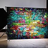 DODOING 5x7ft Colorful Brick Wall Vinyl Photography Backdrop Studio Prop Photo Background 1.5x2.1m