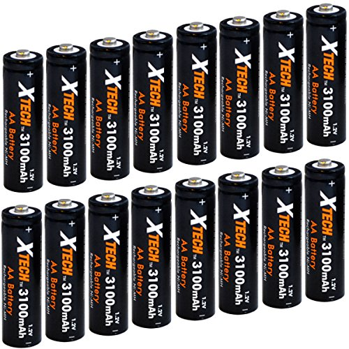 Xtech AA Ultra High-Capacity 3100mah Ni-MH Rechargeable Batteries (16 Pack)