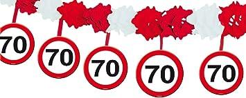 Folat B.V- Folat Guirnalda de señales de tráfico del 70 cumpleaños con perchas, Multicolor (5237)