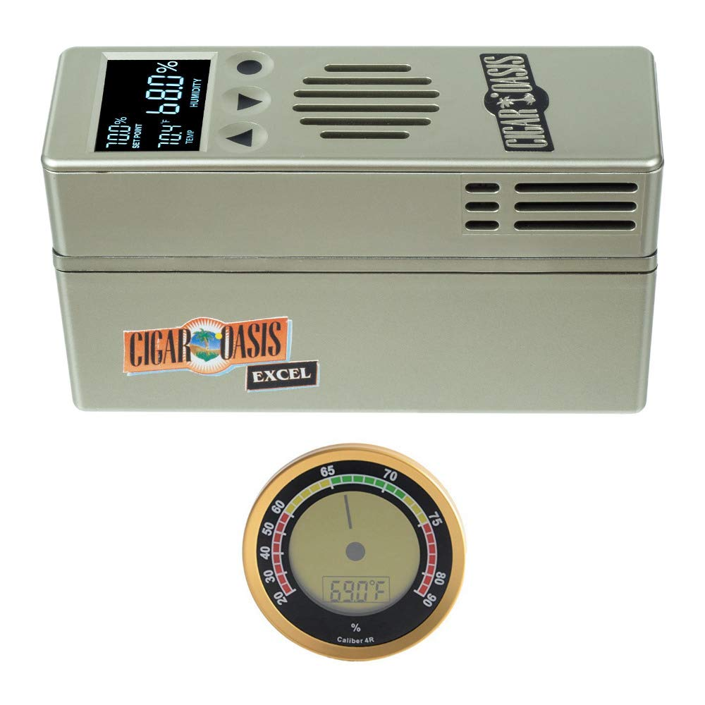 Cigar Oasis Excel 3.0 Electronic Cigar Humidifier with Digital Analog Hygrometer Bundle