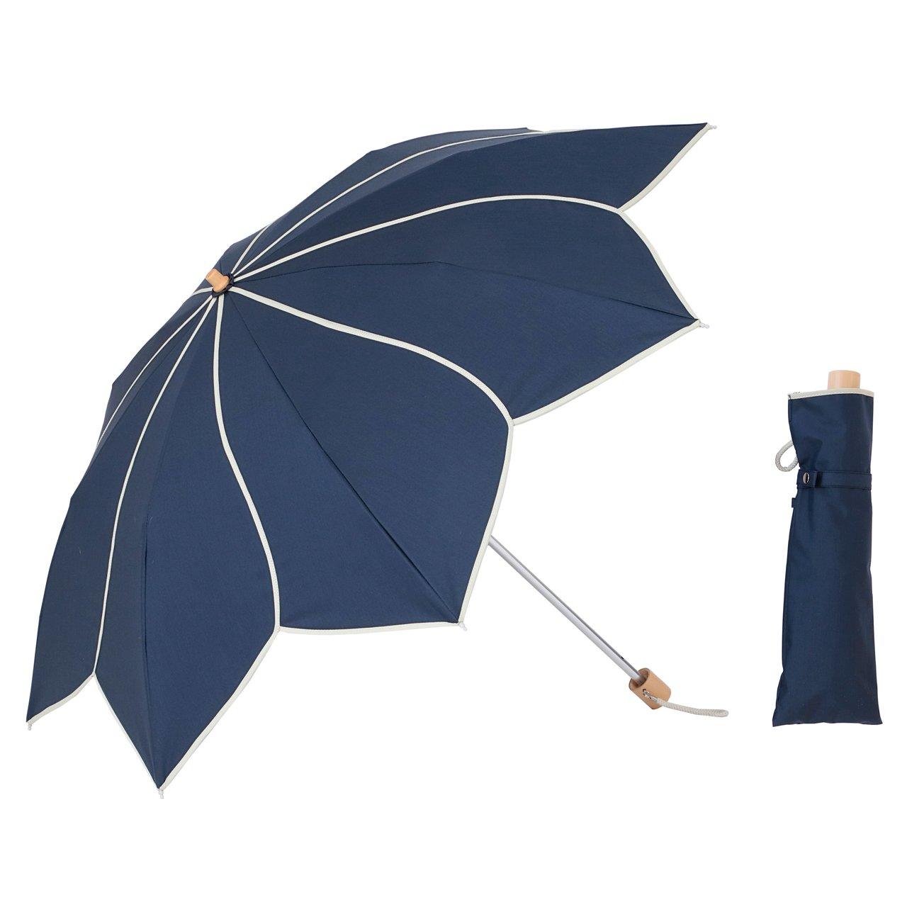 UVカット 晴雨兼用 折傘 フラワー ネイビー 遮熱 遮光1級 ラミネート生地 クールプラス 折りたたみ日傘 【LIEBEN-0588】 B07BKX8YWM