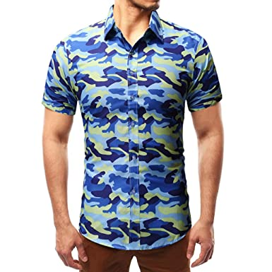 Hommes Chemise Polo À T Shirt Manches Impression Tees Camouflage thdCsQr