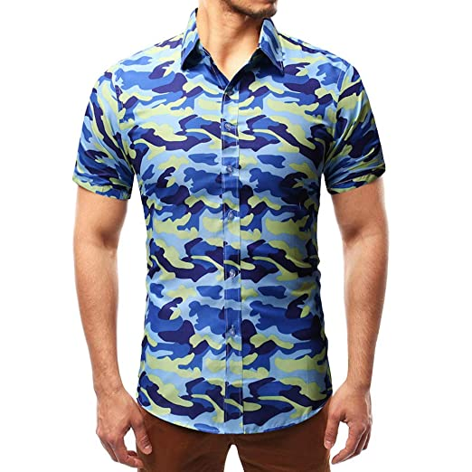 cfde54fc Amazon.com: MODOQO Men Tees Summer Fashion Button Personality Camouflage  Stand Collar T-Shirt: Clothing