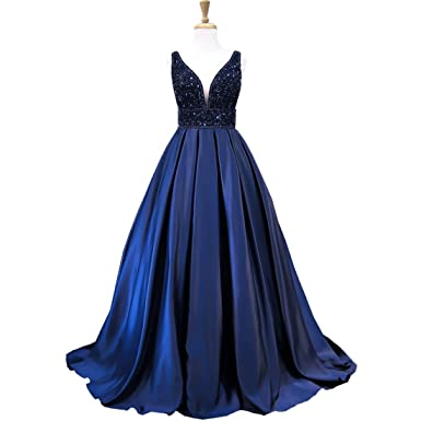 Weierxi Puffy V-neck Heavy Beaded Navy Blue Prom Dress Backless Women Formal Evening Gowns