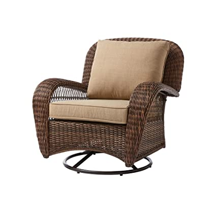 Incredible Hampton Bay Beacon Park Wicker Outdoor Swivel Lounge Chair 1 Brown Caraccident5 Cool Chair Designs And Ideas Caraccident5Info