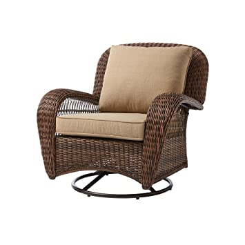 Hampton Bay Beacon Park Wicker Outdoor Swivel Lounge Chair With Toffee  Cushions