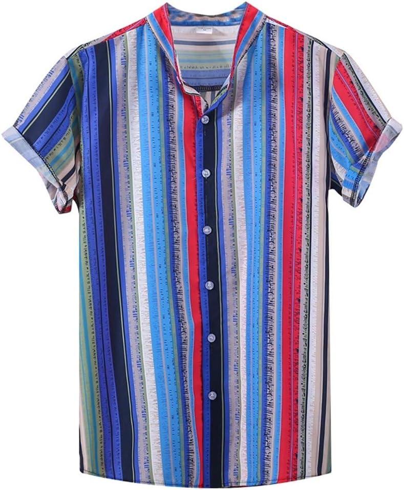 AG&T Camisa Holgada De Manga Corta para Hombre, con Estampado éTnico Y con Cuello De Raya Colorido Camisa Hawaiana Informal de Manga Corta con Top Botón de Solapa A Rayas para Hombre: