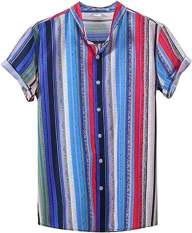 CAOQAO Camisa Manga Corta Hombre Raya Colorida del Cuello del Soporte de la impresión étnica Hawaiana: Amazon.es: Ropa y accesorios