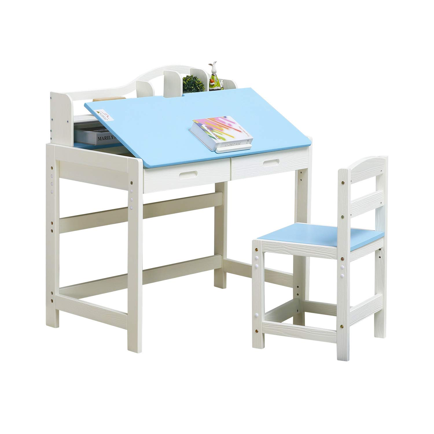 JSY Home Furniture Height Adjustable Solid Wood Children's Table and Chair Set with Adjustable Sloping Surface, Great for Children's Bedroom (Blue) by JSY Home Furniture