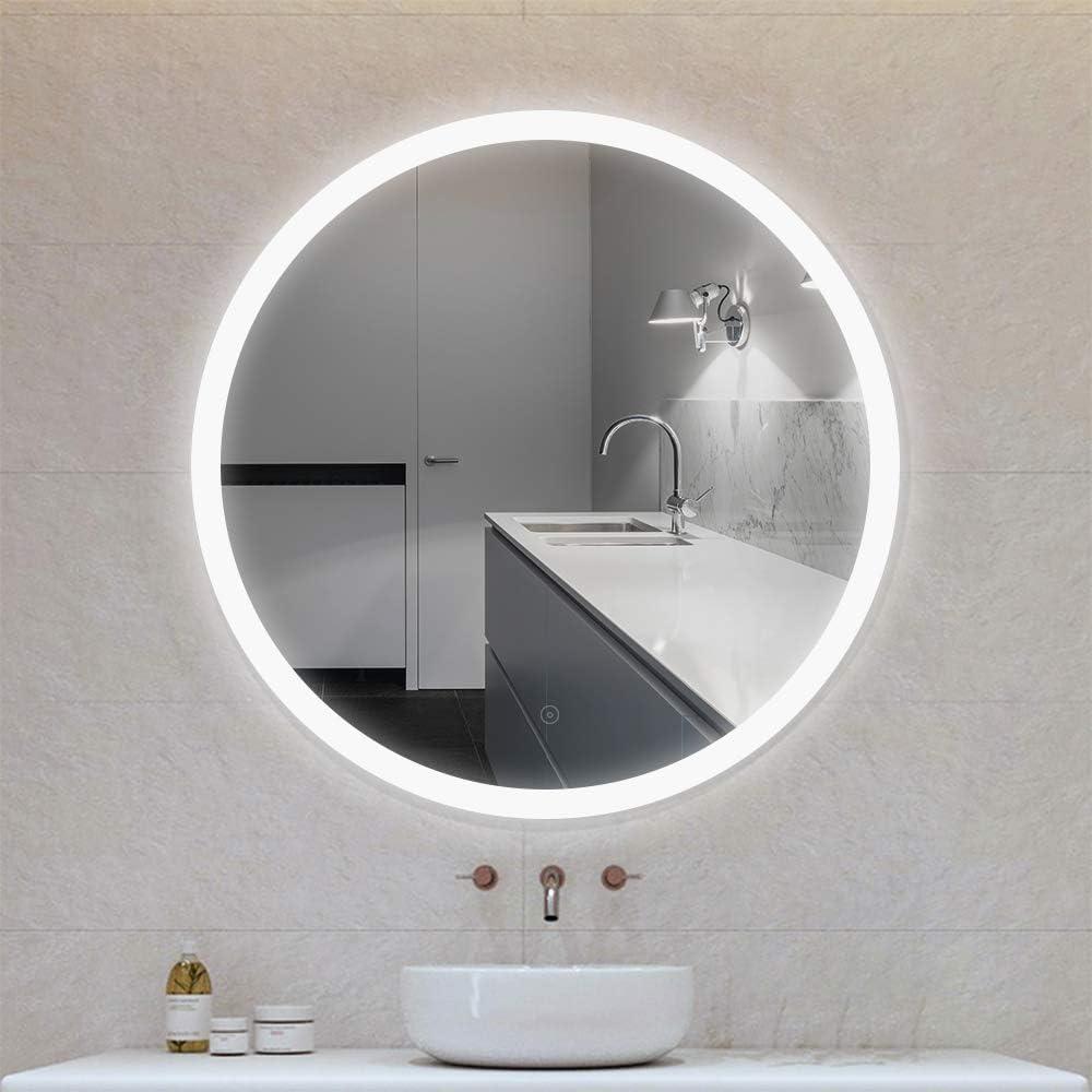 Flyelf Rond Miroir de Mur de Salle de Bains,avec avec Fonction  Anti-buée,Commande par Effleurement,avec Miroir LED, Diamètre 20 cm / 20 cm  / 20 cm