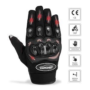 Gants Moto Ete Homologué CE 1KP CARCHET Femme Homme Plein-Doigt Ecran Tactile Respirable Anti-glissant Anti-usure Réglable Noir Taille L