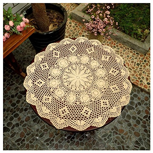 """WCHUANG Vintag Crocheted Doilies Round Lace Tea Furniture Sofa Cover Placemats CottonTablecloths (23.6"""", beige)"""