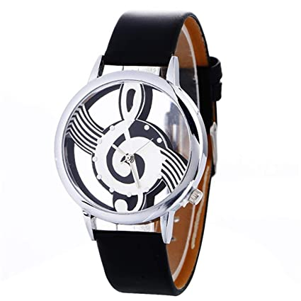 sportsmanship Musical Note Painting Leather Bracelet Lady Womans Wrist Watch reloj Mujer Pulsera Ladies Watch(