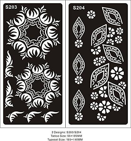2 Hojas Plantillas de Mehndi tatuaje de henna S203 S204 ...