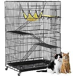 Yaheetech 4-Tier Rolling Cat Pet Metal Wire Large Cage Playpen w/Hammock/3 Ramp Ladders/2 Doors 32L x 22W x 48H Black