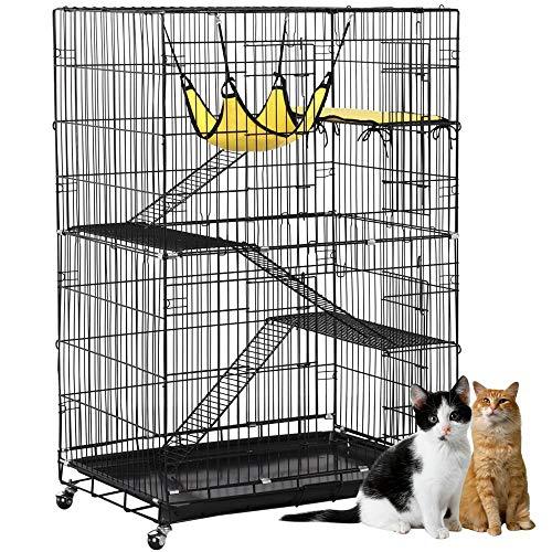 Yaheetech 4 Tier Cat Cage Large Rolling Kitten Ferret Cage - Metal Pet Playpen w/ 3 Ramp Ladders/2 Doors/Hammock Indoor/Outdoor 32L x 22W x 48H ()