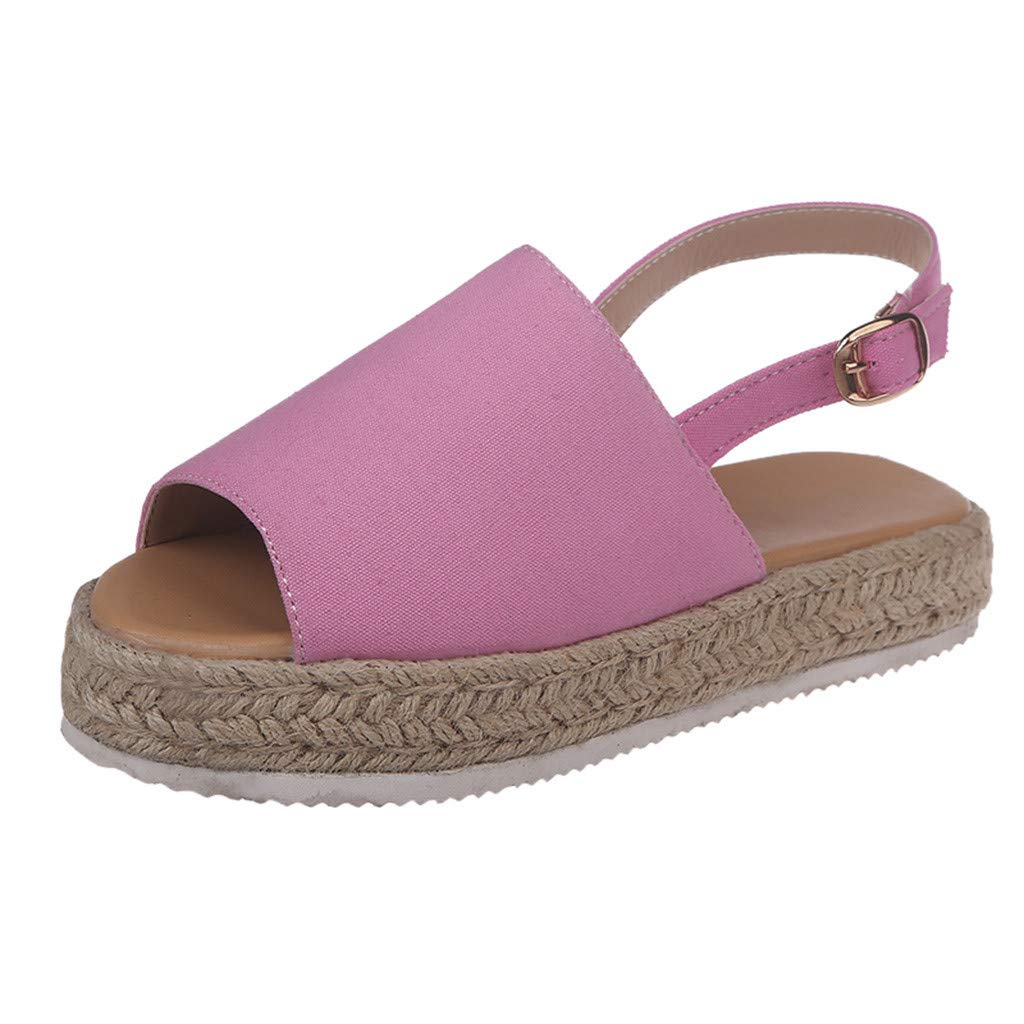 ❤SSYongxia❤ Girl Women's Comfort Casual Espadrille Trim Rubber Sole Flatform Wedge Buckle Ankle Strap Open Toe Sandals Pink