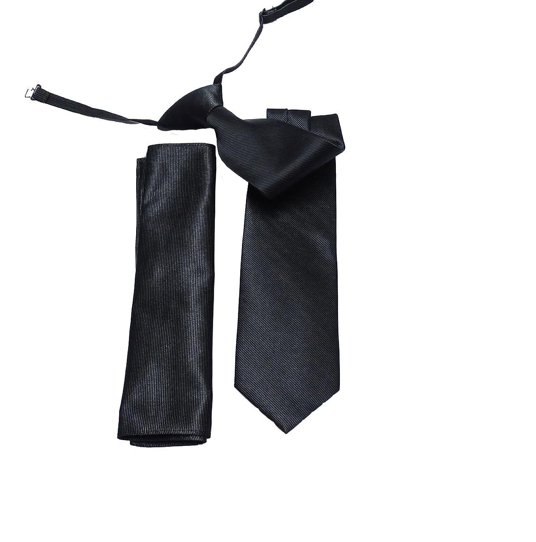 Corbata con cordón elástico y pañuelo de bolsillo - color negro, elegante acabado.Nunca mas hacer nudos.