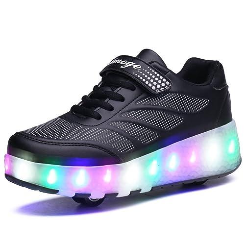 c24af058c1d6 AIMOGE Unisex Scarpe Skate Scarpe con Ruote Skateboard per Bambini Ragazzi  delle Ragazze LED luci Suola