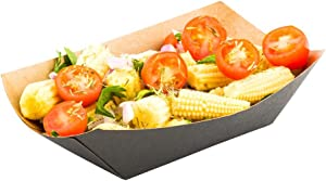 3.3-inch Disposable Paper Food Tray - Black with Kraft Brown Interior Take Out Boat: Perfect for Restaurants, Cafes, and Parties - ENVIRONMENTAL-FRIENDLY Recyclable Paper - 400-CT - Restaurantware