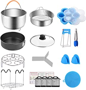 Fopurs 6 Quart Pressure Cookers Accessories Set, Compatible with Instant Pot 6 Qt, Steamer Baskets with Divider, Glass Lid, Egg Bites Mold, Springform Pan, 5 Cooking time Magnets and more, 18 pcs
